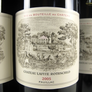 Chateau Lafite-Rothschild 2005 Premier Grand Cru in Wine Auctioneer's January 2018 auction. Also featuring Chateau Mouton-Rothschild, Latour, Margaux, Haut-Brion, Domaine De La Romanée-Conti (DRC), Vieux-Télégraphe, Henschke, Cloudy Bay; Wines from Napa, Barossa, Mendoza and Rhone Valleys; in the styles of Barolo, Chianti, Amarone and many more. Sign up at www.wineauctioneer.com/register