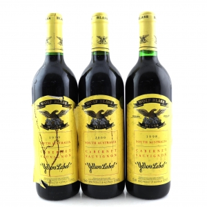 "Wolf Blass ""Yellow Label"" Cabernet Sauvignon 1998, 1999 & 2000 South Australia 3x75cl"