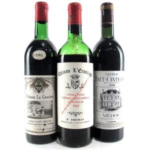 Assorted Bordeaux Wines 1962 3x75cl